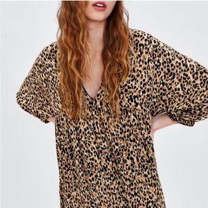 Zara leopard babydoll v neck dress